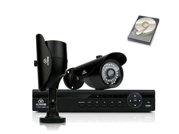 KARE® 4CH 1080N DVR Recorder with 2x Super HD 1.3MP Outdoor Cameras and 1TB Pre-installed Hard Drive Disk