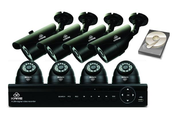 KARE® 8 Channel 1080N CCTV DVR Camera System with 4x Day Night Dome & 4x Bullet Cameras & 2000GB Hard Drive Disk UPC 520870104832