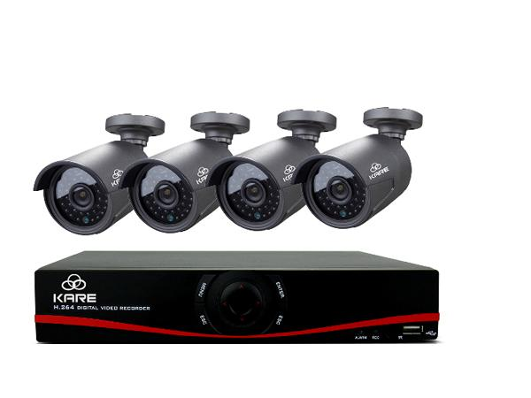 KARE® 4CH 720P NVR Network Video Recorder POE Systems, CCTV Camera Systems with 4x Outdoor Security Bullet Cameras